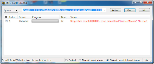 Cara Mengatasi MIFlash Unspecified error(0x80004005: error: cannot load