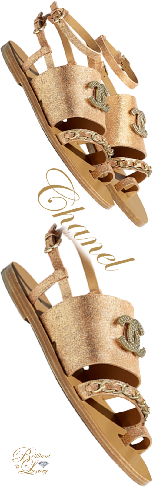 Brilliant Luxury ♦ Chanel gold lamé calfskin flat sandals