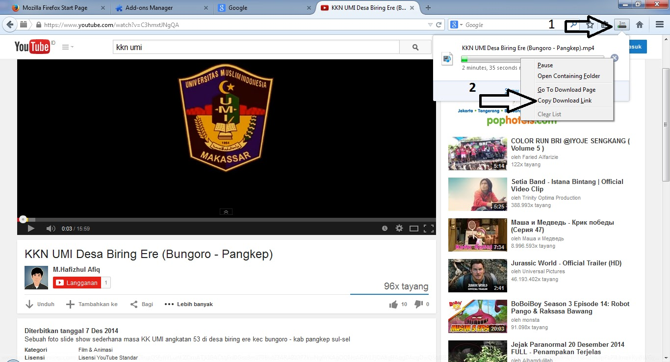 Cara download video youtube di mozilla firefox