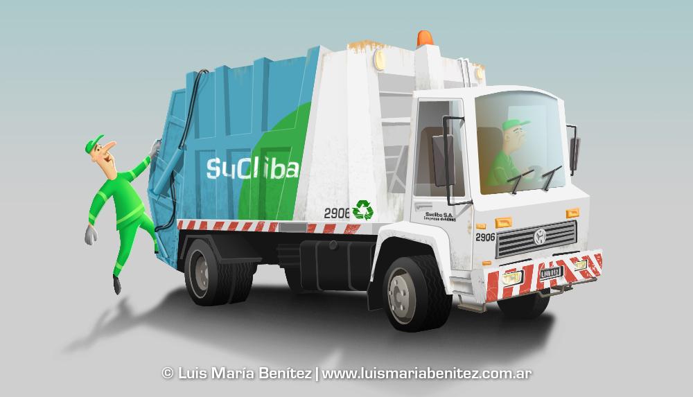 Garbage truck illustration / Ilustración camión de basura © Luis María Benítez
