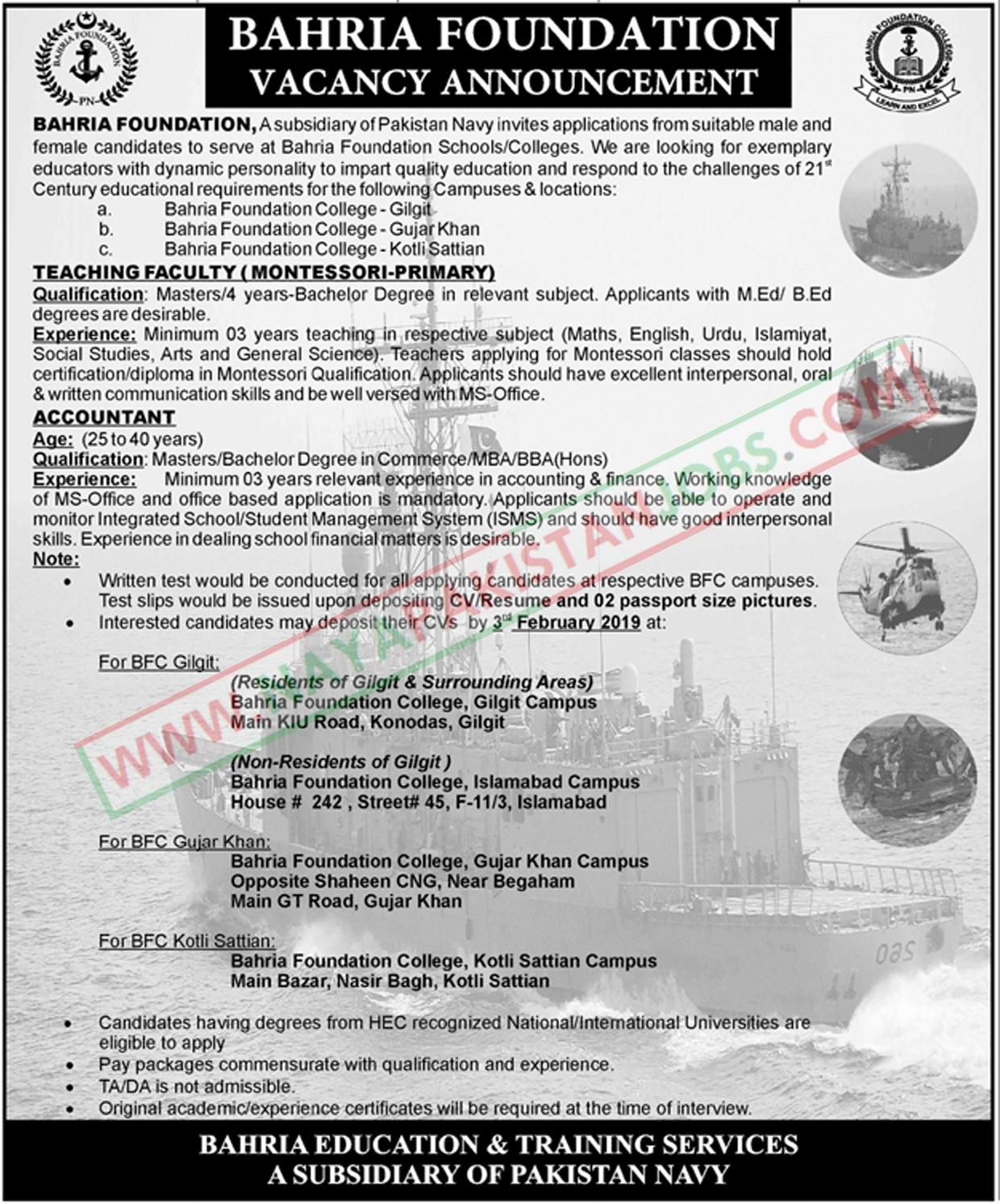 Bahria Foundation Jobs, Bahria Foundation Karachi Jobs , Bahria Foundation Jobs Pakistan Navy 2019 | Multiple Location