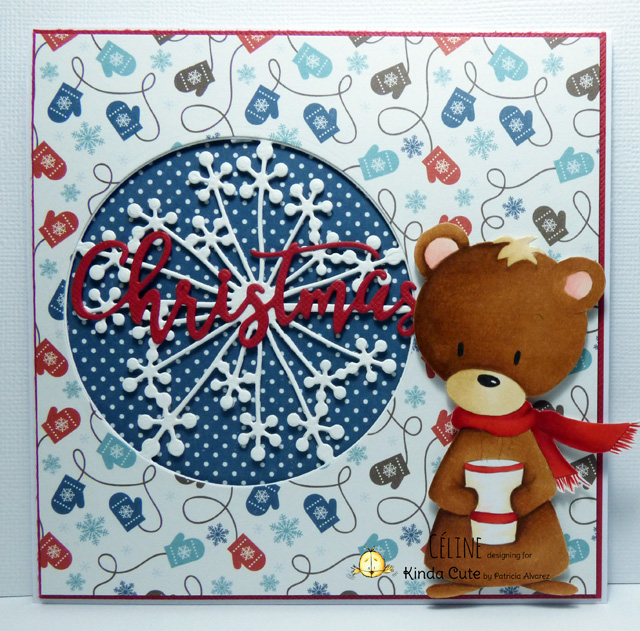 Christmas card with bear with cup digital stamp