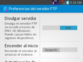 Opciones de servidor.