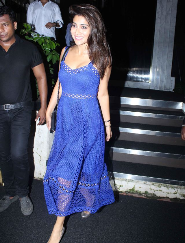 Shriya Saran In Blue Dress at Rohini iyer Birthday Bash