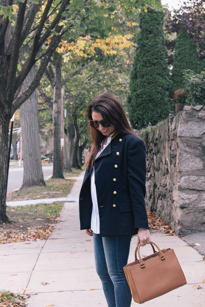 Boston Life & Style Blogger, The Northern Magnolia, is sharing one of her favorite classic pieces of fall apparel, the military blazer.