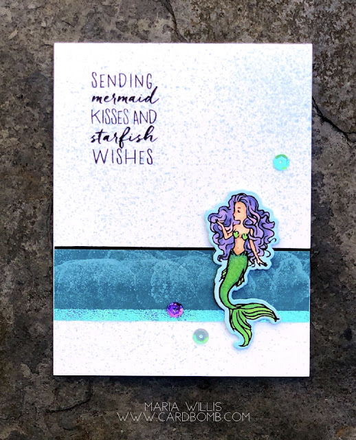 Cardbomb, Maria Willis, Hero Arts, Simon Says Stamp, #simonsaysstamp, #ssswchallenge, #cardbomb, #heroarts, #cards, #stamps, #ink, #mermaidkisses, #mermaid, #copics, #handmade, #papercraft, #paper, #color, #ocean, #creative, #crafty