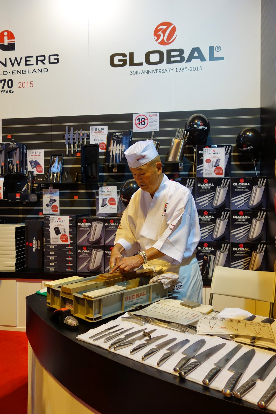 Knives being sharpened at the Good Food Show Winter
