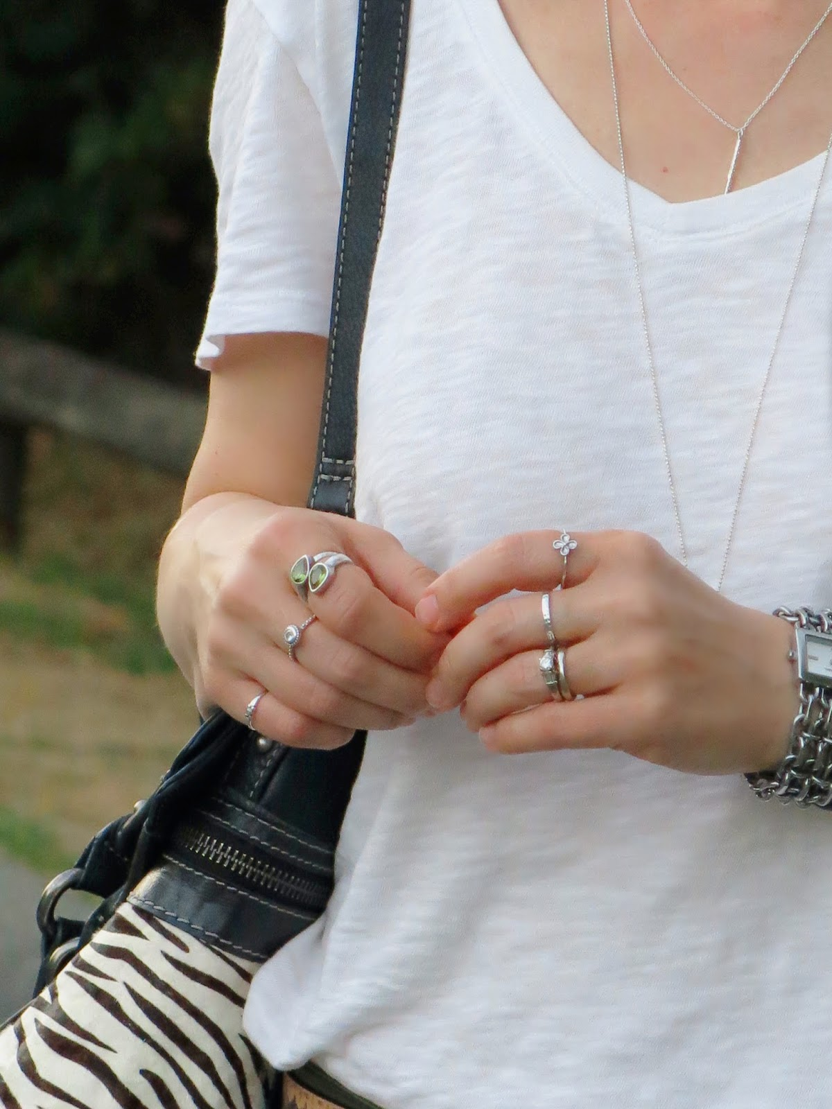 slouchy v-neck white tee and accessories