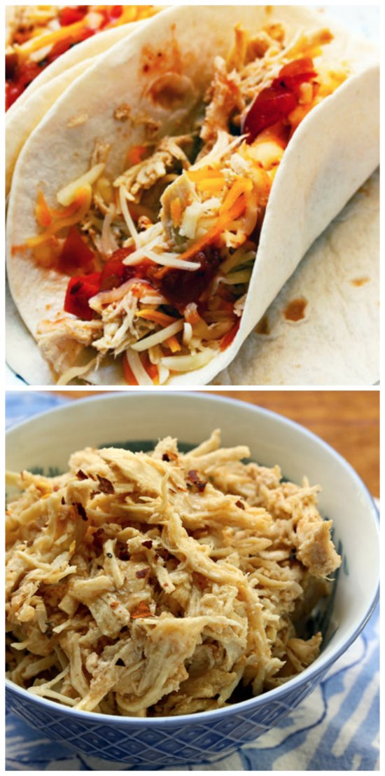 Slow Cooker Shredded Barbeque Chicken from The Perfect Pantry featured on SlowCookerFromScratch.com