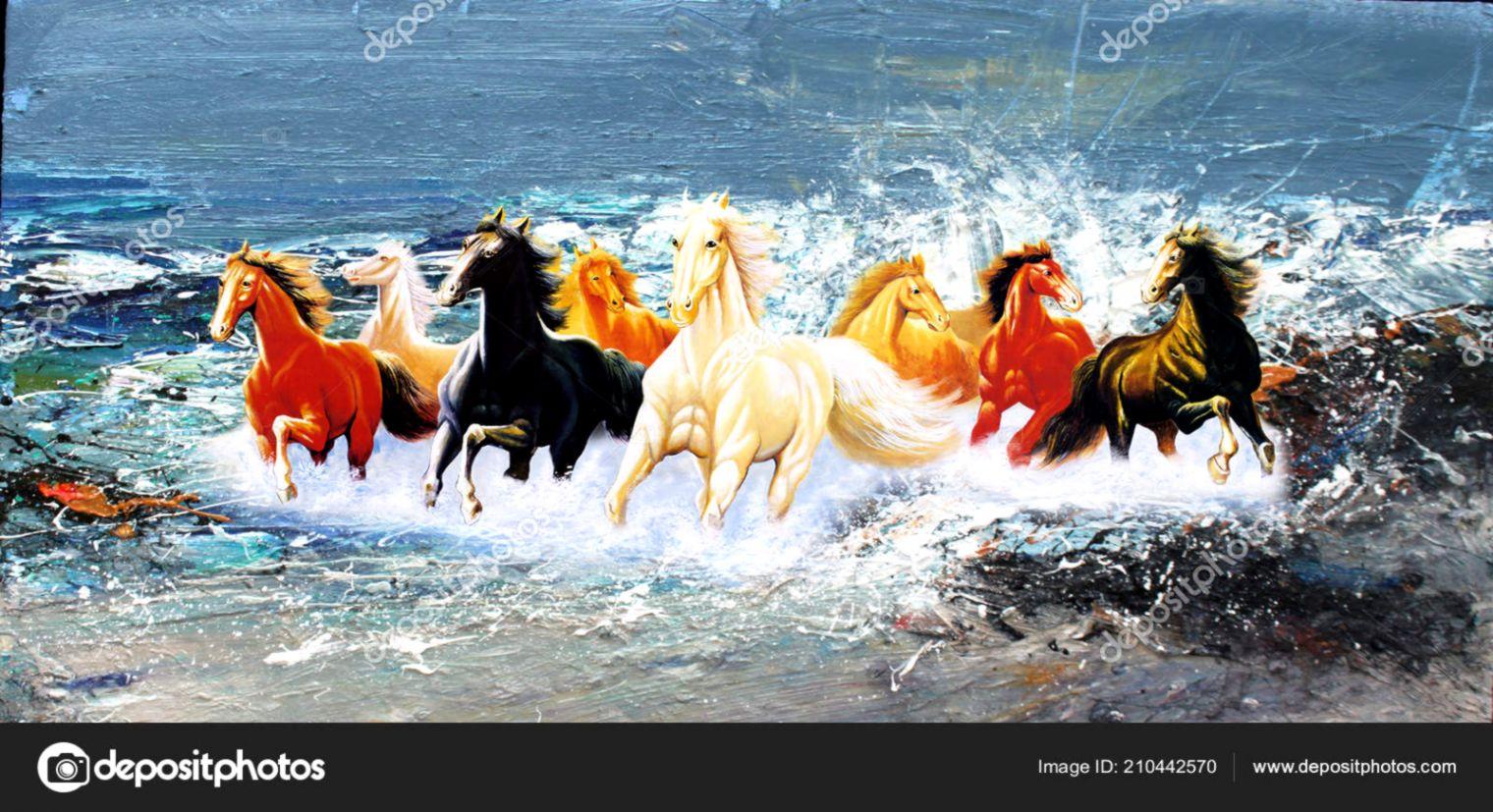 Horses Painting Art Wallpaper Frame — Stock Photo © Ronakbaheti