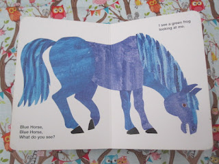 Inside the book showing a blue horse