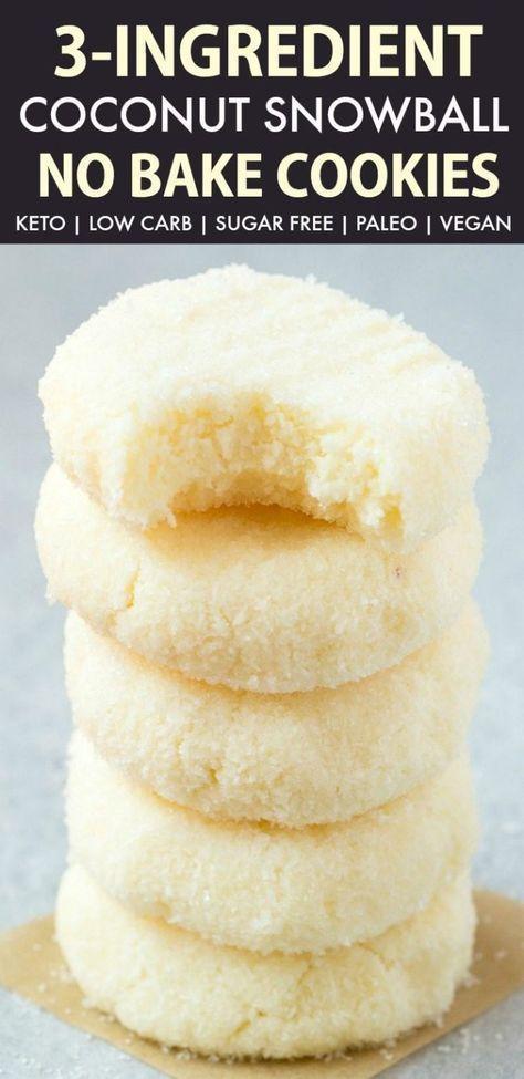 3 Ingredient Paleo Vegan Coconut Snowball Cookies
