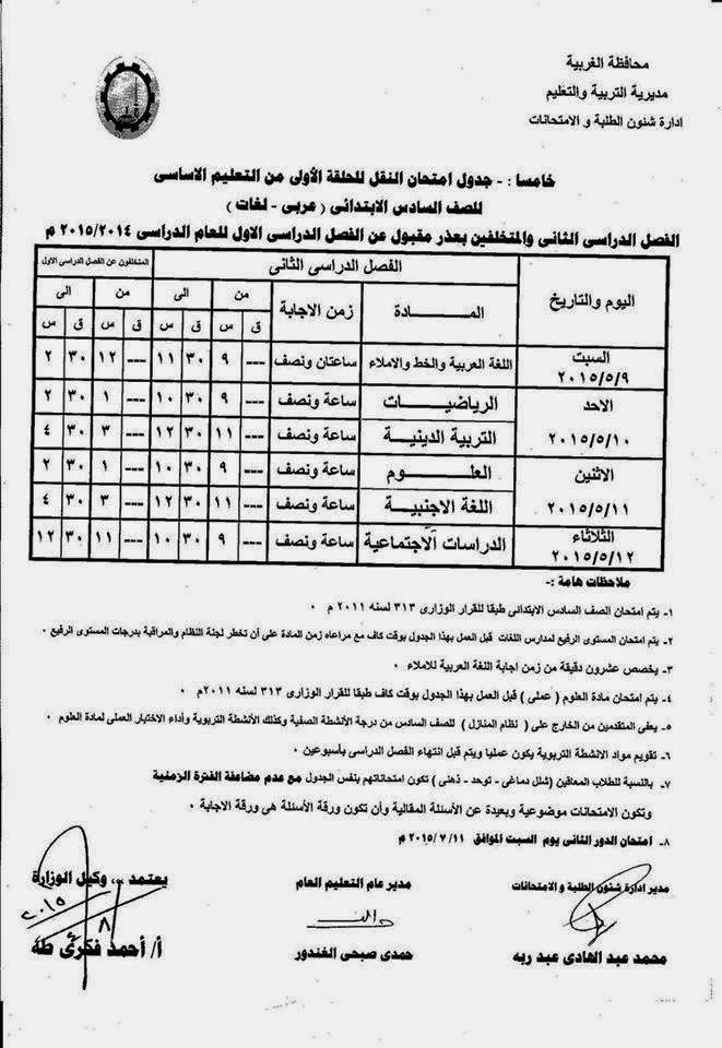 جداول امتحانات كل فرق الغربية أخر العام2015 11154741_10941185439