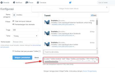Cara membuat widget twitter