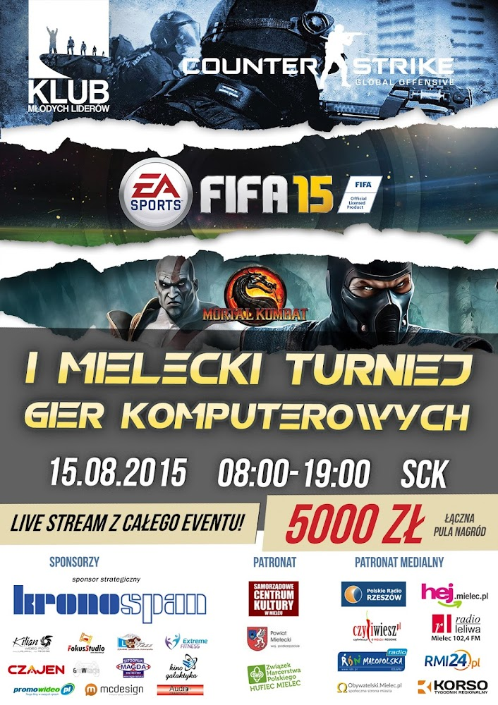 fifa 2015 turniej mielec plakat counter-strike mortal kombat
