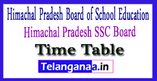 HPBOSE 10th Exam Time Table 2018