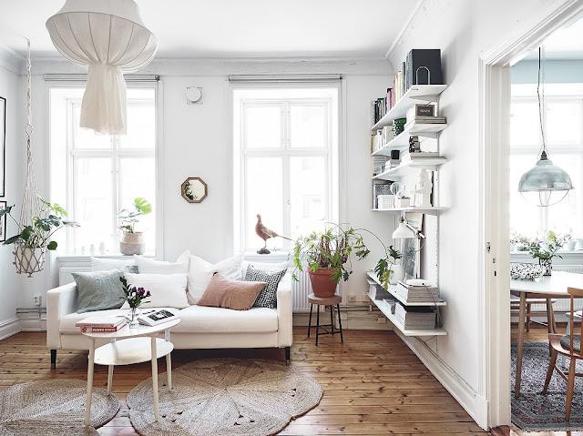 Amenajare cu multe plante de interior într-o garsonieră de 43 m²