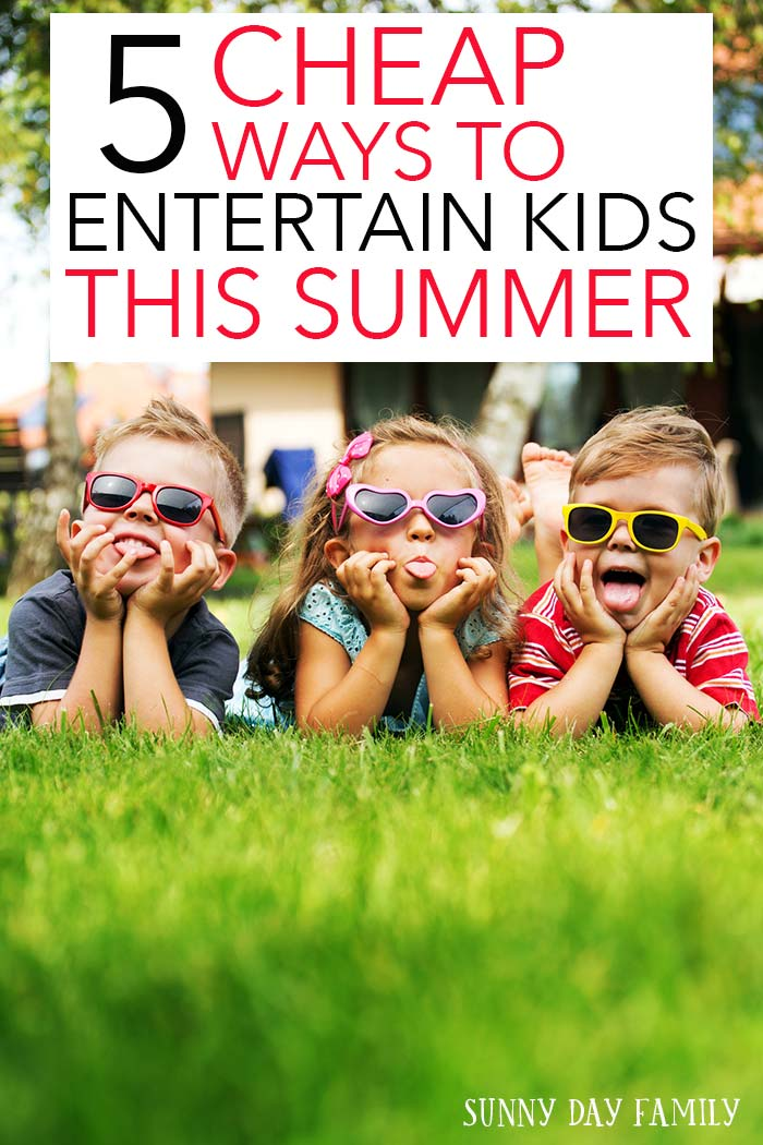 "5 cheap ideas for summer fun! Free activities, low cost movies, and more to help keep kids busy all summer long. You'll love these awesome ideas and you won't hear ""I'm bored"" again!"