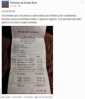 factura restaurante de costa rica precios altos