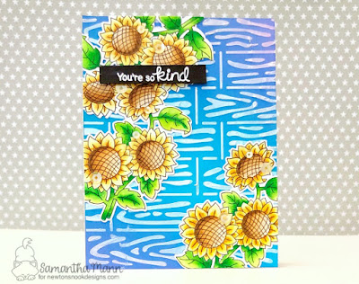 So Kind Card by Samantha Mann for Newton's Nook Designs, sunflowers, cards, handmade cards, embossing paste, fall, autumn, #newtonsnook #sunflowers #cards #distressoxide #inkblending