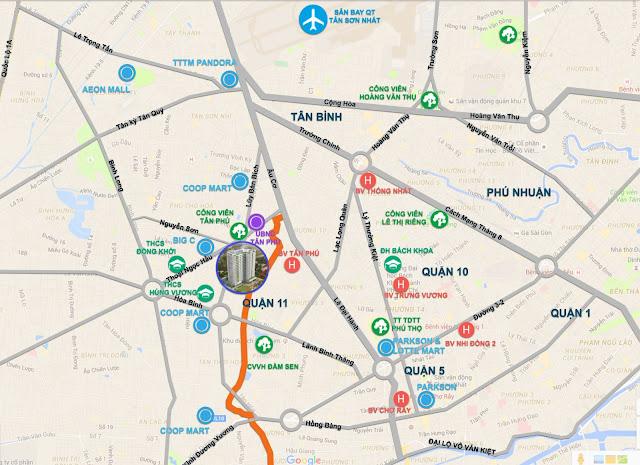 Vị trí dự án căn hộ Carillon 5 quận Tân Phú.