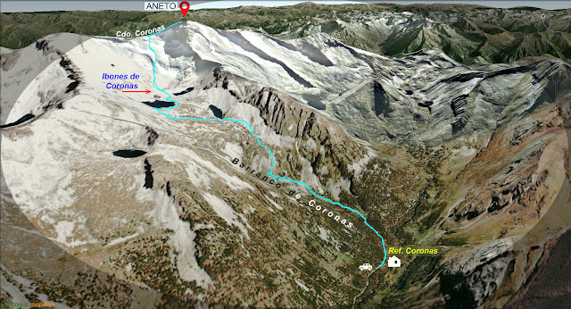 Mapa de la ruta al Pico Aneto desde el Refugio de Coronas