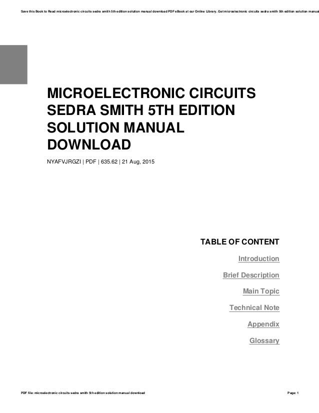 Microelectric circuit sendra smith manual solution
