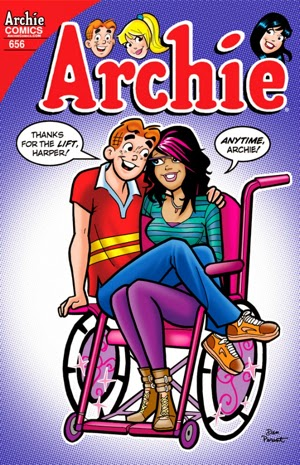 Cover of Archie comics issue introducing Harper ... Young woman in a wheelchair with Archie sitting on her lap