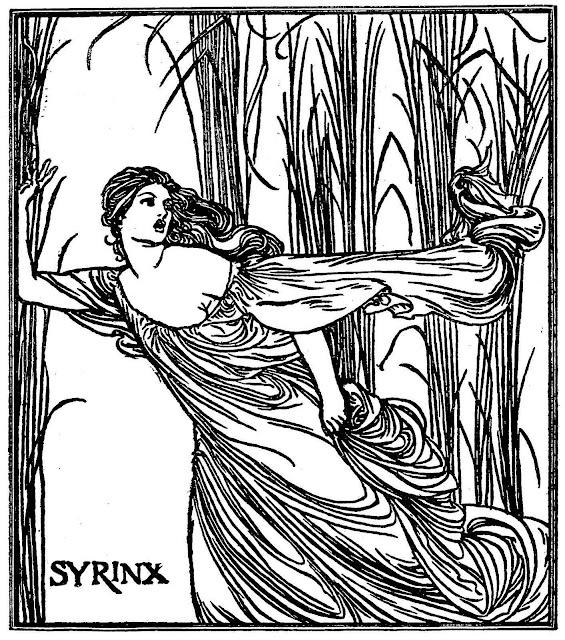 a Robert Anning Bell illustration of a fleeing woman