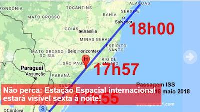 """Estação Espacial Internacional, """"ISS"""" poderá ser vista nos céu do Vale do Ribeira neste 18/05"""