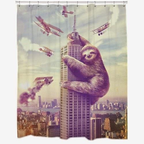 Slothzilla shower curtains