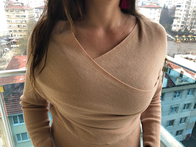 Plunging Neck Surplice Knitted Top