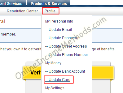 Paypal Credit / Debit Card Verification