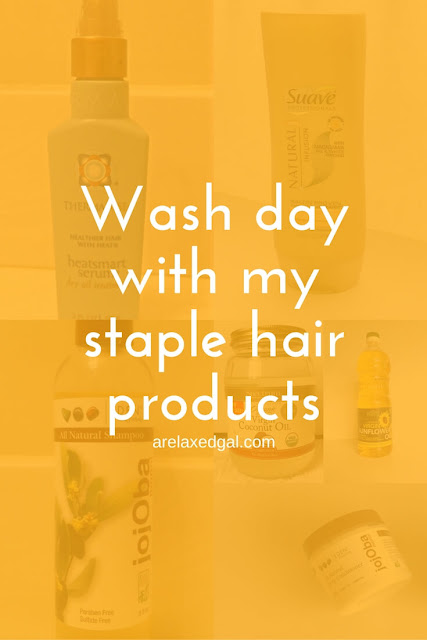 A wash day at four weeks post last relaxer touch up using tried and true products from my hair regimen. | arelaxedgal.com