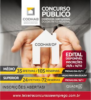 Concurso Codhab DF: Saiu edital 2018 com 236 VAGAS empregos de nível médio e nível superior
