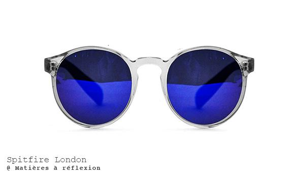 Lunettes de soleil rondes verres bleus monture transparente Spitfire London Anorak