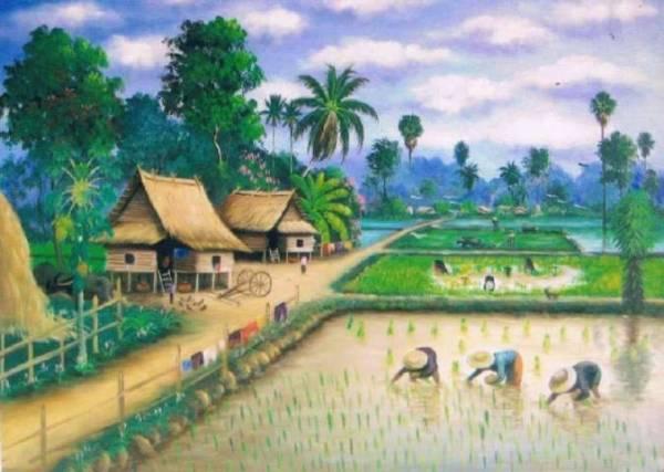 Nostalgia Lukisan Pemandangan Sawah Kenangan Masa kecil Dulu
