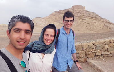 Travelers visiting Silence Towers of Yazd.