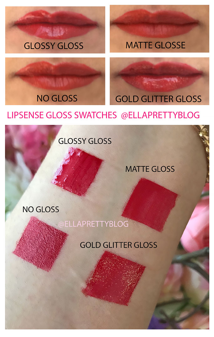 Lipsense Comparison Swatches Glossy Gloss, Gold Glitter Gloss, Matte Gloss on lips