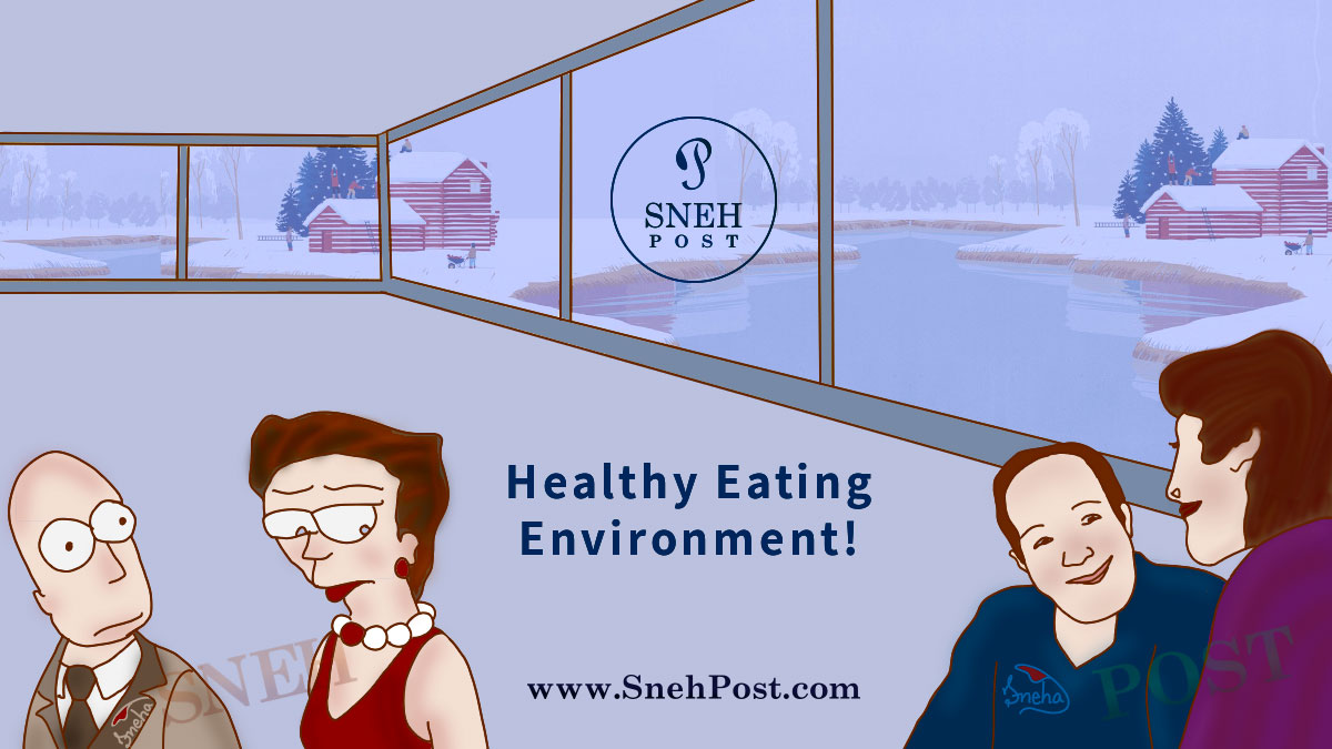 Healthy eating environment and watchful stopovers: A happy couple having dinner in a beautiful restaurant and another odd couple seeing them with jealousy: Couple pic illustration by Sneha