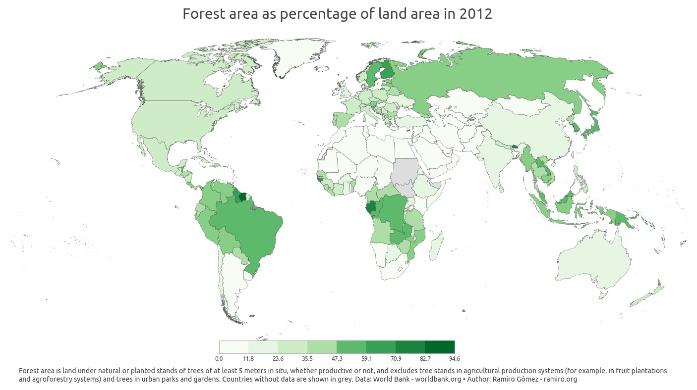 Forest area as percentage of land area