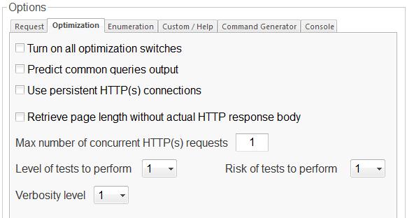 SQLMap GUI Optimization Options