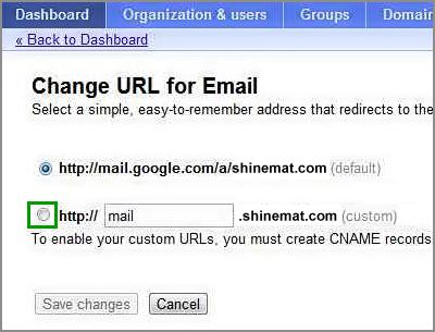 Setup customize mail web address