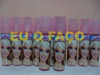 barbie escola de princesas, brindes da barbie, brilho labial, lembrancinhas, brindes, festa, infantil