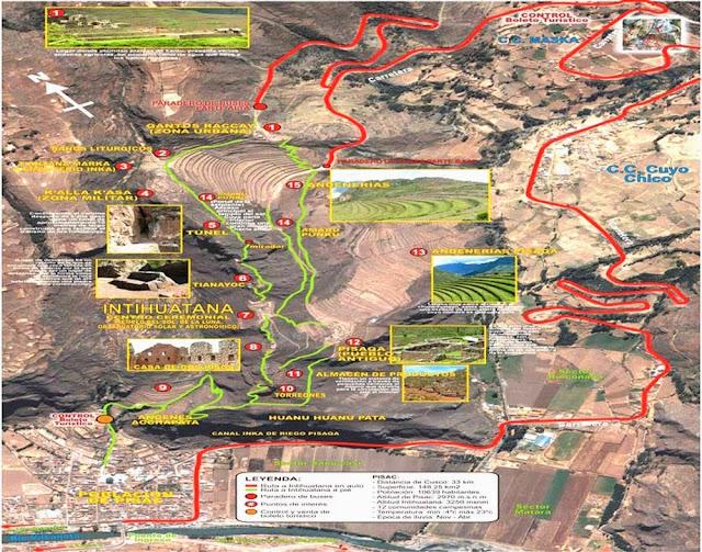 Mapa turístico de Pisac - Peru