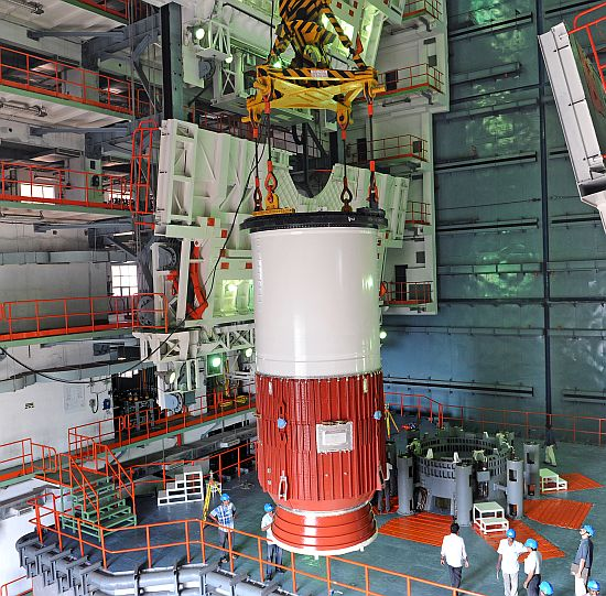 Nozzle end segment of GSLV-D5 first stage being placed on Mobile Launch Pedastal- View 1