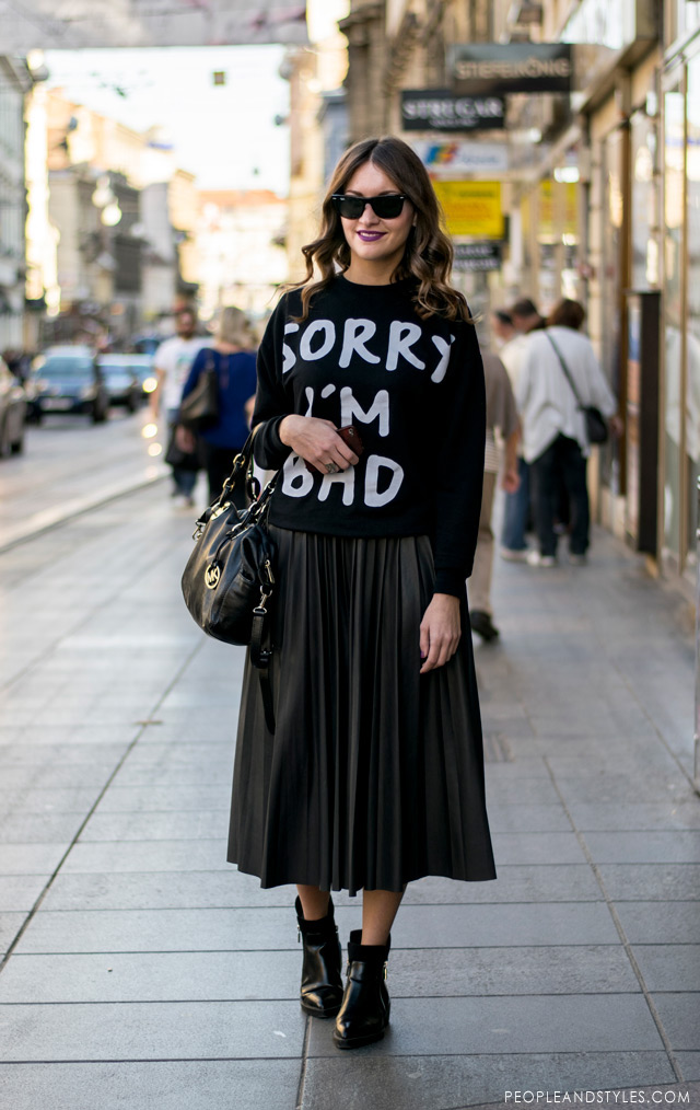 Ivana Cvrlje, managerica u Zari, skirt outfit with ankle boots
