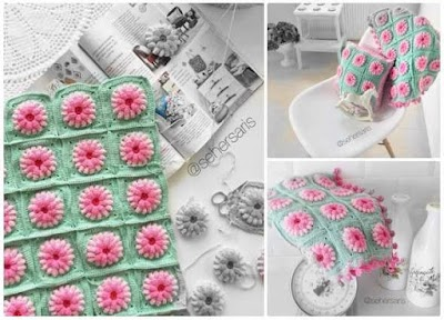 Motivos florales de crochet con palomitas