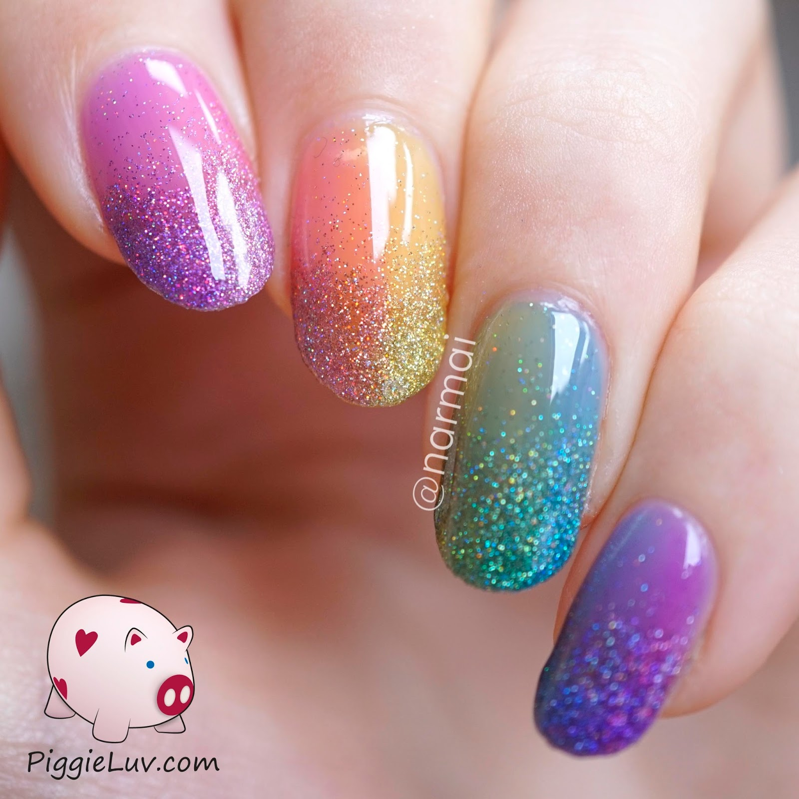 PiggieLuv: Double Gradient Glitter Rainbow Nail Art With
