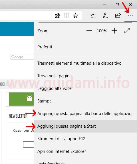 Menu contestuale Microsoft Edge opzioni per aggiungere sito a start e barra applicazioni